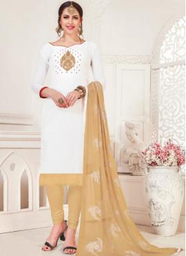 Classical Silk White Churidar Designer Suit