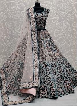 Classical Velvet Patch Border Rama Lehenga Choli