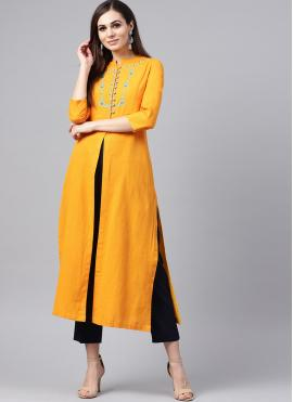 Classical Yellow Party Casual Kurti