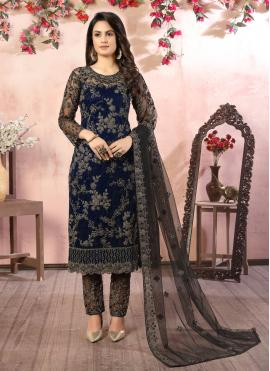 Classy Black and Blue Net Pant Style Suit