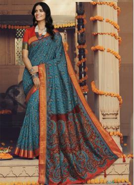 Classy Multi Colour Printed Silk Trendy Saree