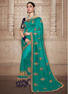 Classy Weaving Silk Aqua Blue Contemporary Saree