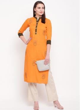 Classy Yellow Embroidered Rayon Casual Kurti