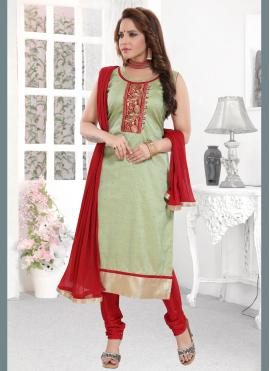 Compelling Embroidered Sea Green Silk Readymade Suit