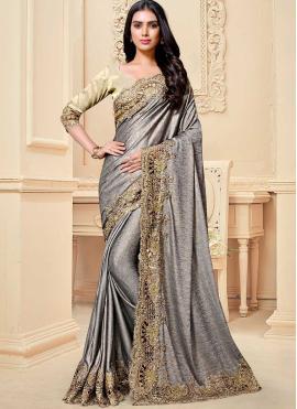 Compelling Fancy Fabric Cutwork Grey Designer Traditional Saree