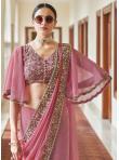 Compelling Faux Georgette Pink Classic Designer Saree - 1