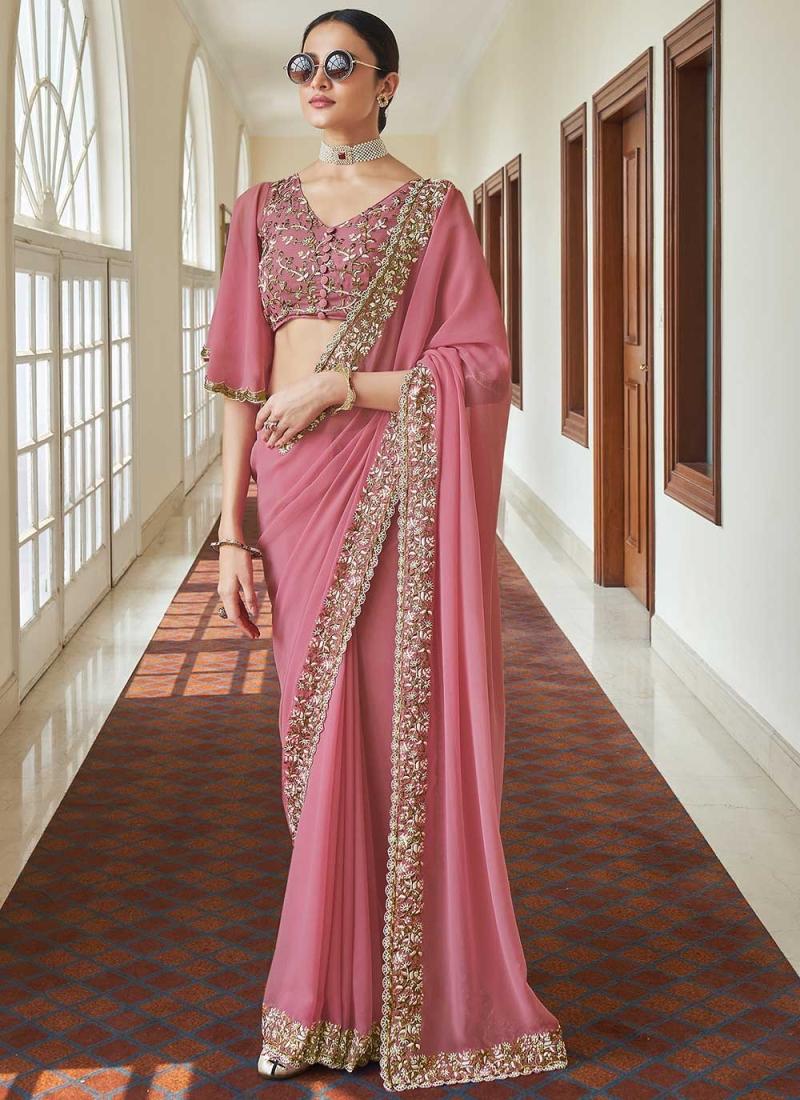 Compelling Faux Georgette Pink Classic Designer Saree