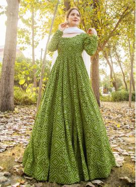 Compelling Muslin Print Green Readymade Suit