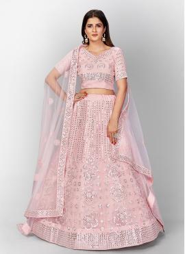 Compelling Thread Organza Pink Lehenga Choli