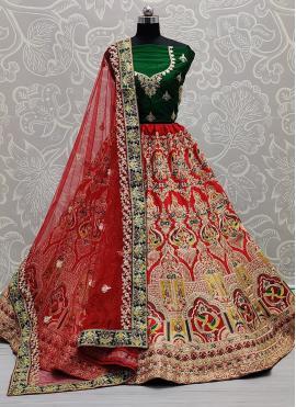 Competent Dimond Red Silk A Line Lehenga Choli
