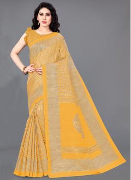 Congenial Mustard Printed Trendy Saree