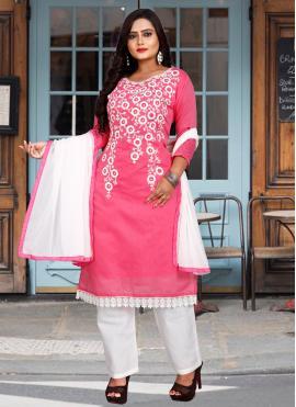Congenial Pink Chanderi Cotton Pant Style Suit