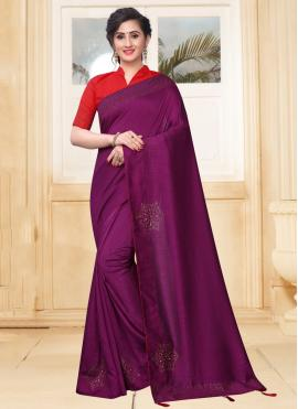 Congenial Silk Stone Purple Designer Saree