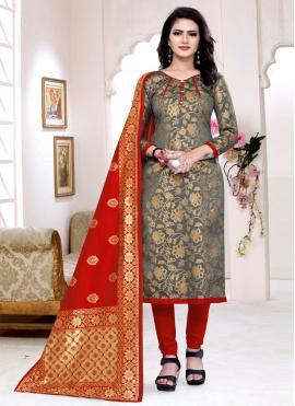 Conspicuous Banarasi Silk Churidar Suit