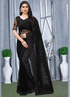 Conspicuous Black Net Classic Designer Saree