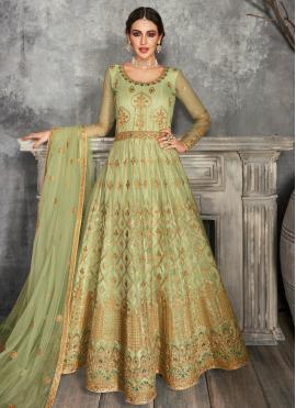 Conspicuous Lace Net Floor Length Anarkali Suit