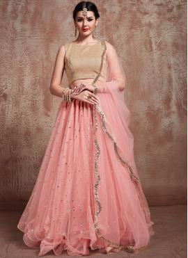 Conspicuous Pink Trendy Lehenga Choli