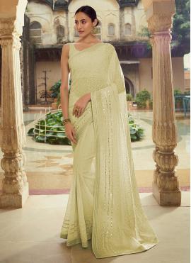 Conspicuous Sequins Mehndi Classic Designer Saree