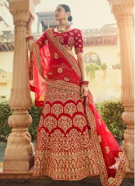 Conspicuous Zari Velvet Red Designer Lehenga Choli