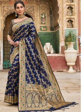 Contemporary Saree Weaving Banarasi Silk in Navy Blue