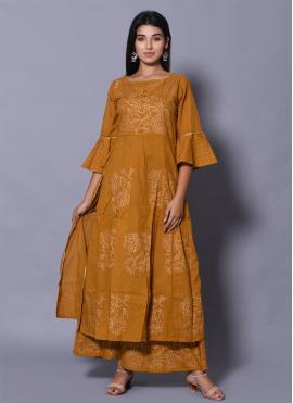 Cotton Block Print Mustard Designer Kurti