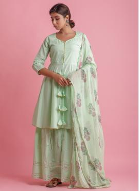 Cotton Block Print Readymade Suit in Green