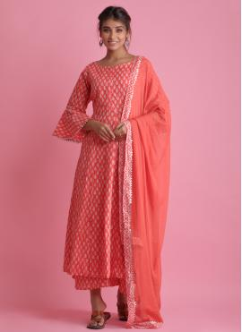 Cotton Block Print Readymade Suit in Red