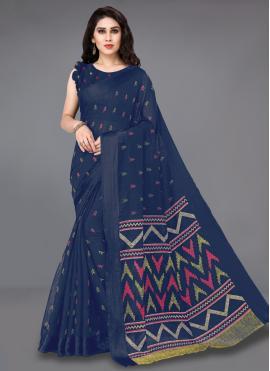 Cotton Blue Printed Casual Saree