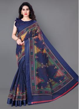 Cotton Blue Printed Classic Saree