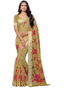 Cotton Casual Saree in Brown