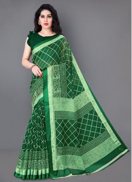 Cotton Contemporary Saree in Green