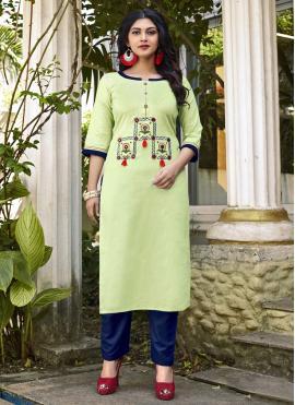 Cotton Designer Kurti in Green