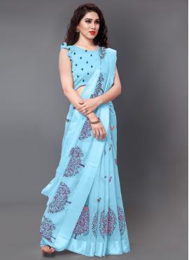 Cotton Designer Saree in Aqua Blue