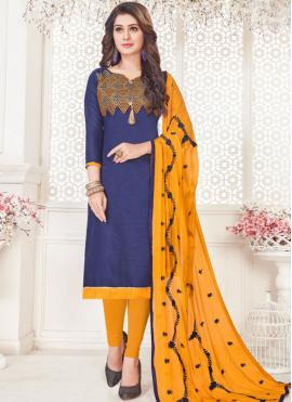 Cotton   Embroidered Churidar Suit in Blue