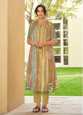Cotton Embroidered Designer Suit in Multi Colour