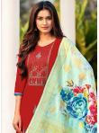 Cotton Embroidered Maroon Straight Salwar Kameez - 1