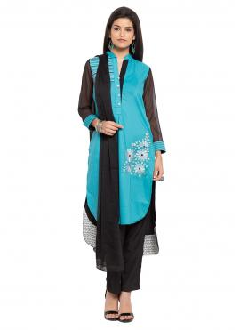 Cotton Embroidered Readymade Salwar Kameez in Aqua Blue