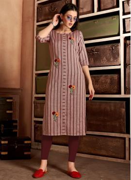 Cotton Embroidered Wine Designer Kurti