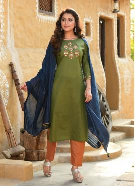 Cotton Green Embroidered Readymade Suit