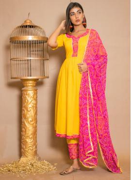 Cotton Lace Yellow Anarkali Salwar Kameez