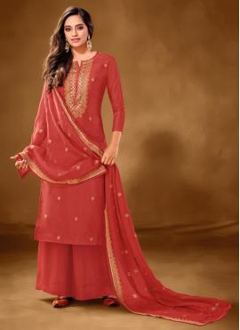 Cotton Lawn Designer Pakistani Suit in Red