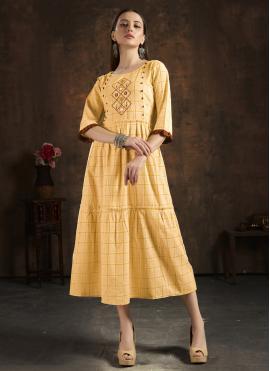Cotton Mustard Party Wear Kurti