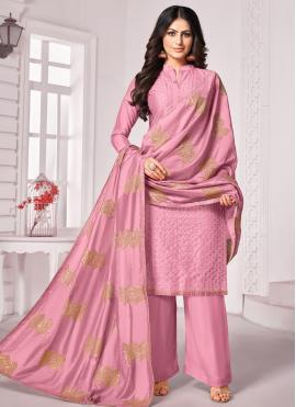 Cotton Pink Embroidered Trendy Salwar Kameez