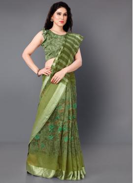 Cotton Printed Designer Saree in Green