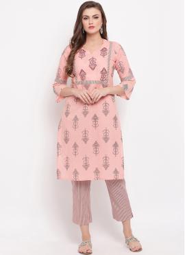 Cotton Printed Pink Casual Kurti