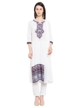 Cotton Printed Readymade Salwar Kameez in White