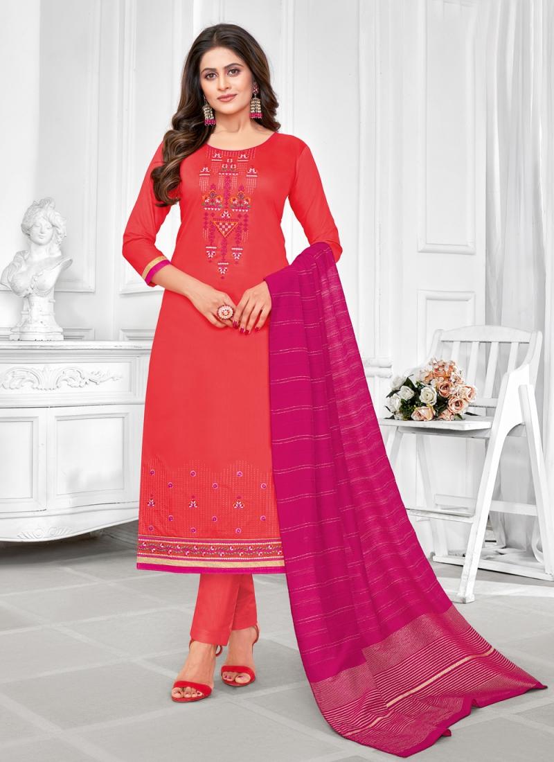 Cotton Red Embroidered Churidar Designer Suit