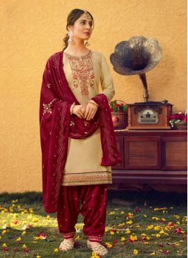 Cotton Silk Cream Print Patiala Suit