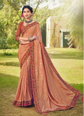 Cotton Silk Foil Print Classic Designer Saree in Peach