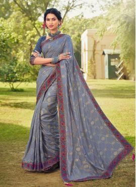 Cotton Silk Foil Print Grey Classic Designer Saree